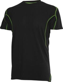 Sort T-shirt med lime stribe