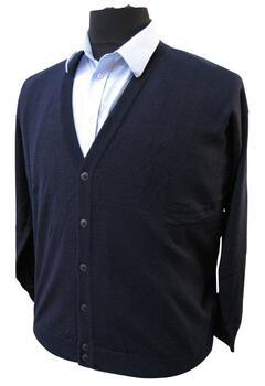 Elkjær strik: Cardigan m. knapper (Navy)