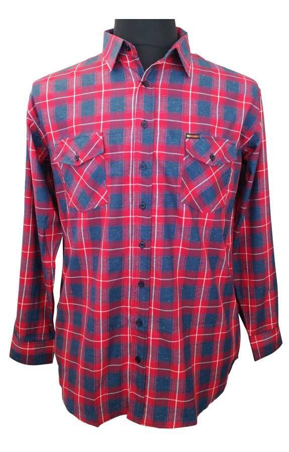1cd16f6c88c Rød/blå ternet skjorte med lange ærmer fra Kamro
