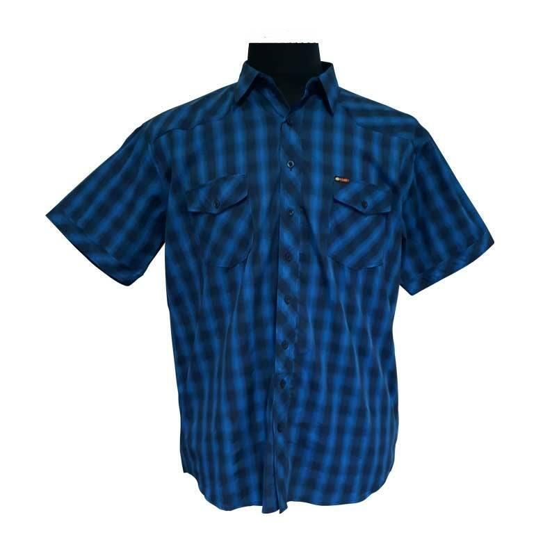 69b4f9b7 Kortærmet blå/mørkeblå mønstret skjorte - Kamro