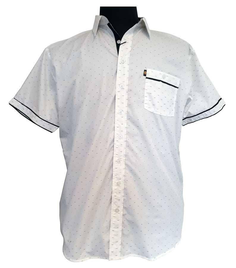 ae498083 Hvid skjorte med print og sort kontrast (K/Æ) - Kamro